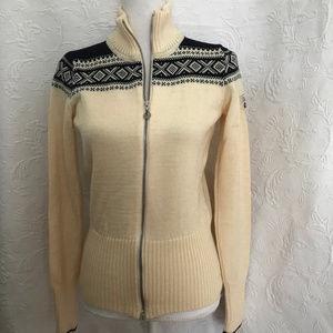 Dale of Norway Ivory Black Wool Full Zip Cardigan